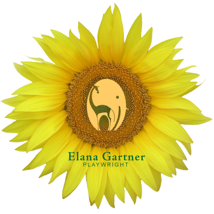 A sunflower with Elana Gartner's elephant / giraffe logo