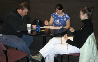 B. Rick Sahlin as Ernie Evan working with director Marielle Solan and playwright Elana Gartner