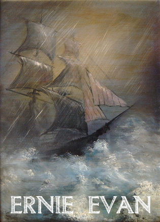 A painting of a ship on a stormy sea