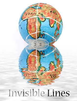 A hand-made globe, reflected in water