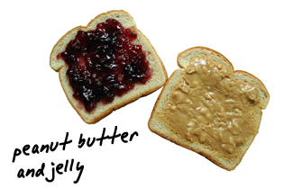 Bread with peanut butter and jelly on it
