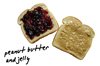 white bread with peanut butter and jelly