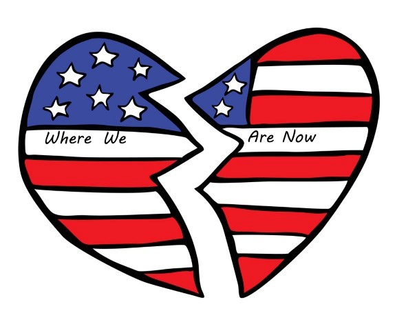 Broken United States flag in the shape of a heart